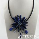 深蓝色珍珠贝壳项链
