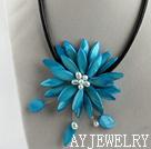 天蓝色贝壳珍珠项链