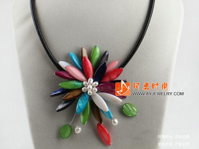 彩色贝壳珍珠项链