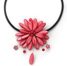 西瓜红贝壳宝石项链