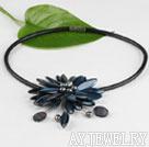 蓝黑色贝壳珍珠项链