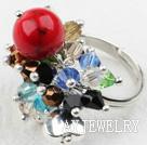 水晶血石戒指