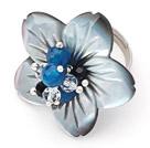 水晶玛瑙贝壳花戒指
