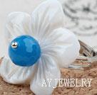 玛瑙贝壳花戒指