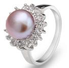 天然紫珍珠戒指 配水钻 合金戒托
