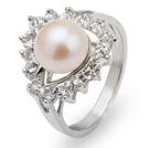 天然白珍珠戒指 配水钻 合金戒托