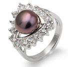 天然紫珍珠戒指 配水钻 合金戒托 太阳花款