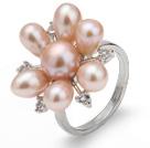 天然粉珍珠戒指 配水钻 合金戒托 多颗款