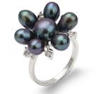 天然黑珍珠戒指 配水钻 合金戒托 多颗款