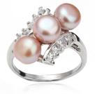 天然紫珍珠戒指 配水钻 合金戒托 三颗款