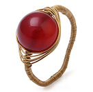 红玛瑙玛瑙 手工戒指 铜线穿制