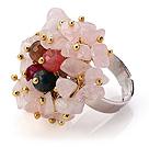 粉水晶 玛瑙手工戒指 圈口可调节