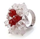 白水晶 红玛瑙手工戒指 圈口可调节
