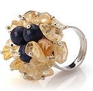 黄水晶 青金石手工戒指 圈口可调节