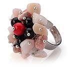 杂石 玛瑙 血石手工戒指 圈口可调节