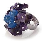 紫水晶 蓝玛瑙手工戒指 圈口可调节