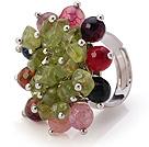 橄榄石 玛瑙手工戒指 圈口可调节