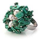 松石 珍珠手工戒指 圈口可调节