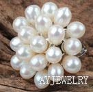 天然白珍珠花形戒指