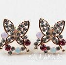 蝴蝶镀金镶钻防过敏耳环