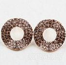 圆环镀金镶钻防过敏耳环
