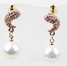 仿珍珠镀金镶钻防过敏耳环