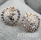 镂空玫瑰花镀金镶钻防过敏耳环