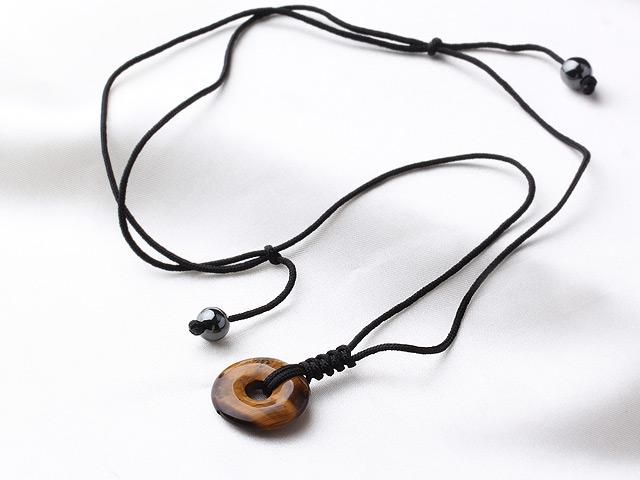 22mm虎眼石平安扣项链 编织绳吊坠款 - 编号:l2568