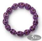 紫色骷髅头松石手链(5件装)