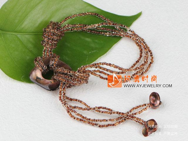 玻璃珠贝壳手链 - 编号:l849