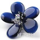 宝石蓝猫眼石水晶花朵胸针