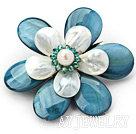 珍珠水晶贝壳花胸针