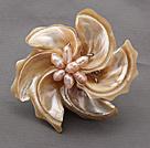 马蹄螺贝壳 珍珠胸针
