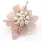 芙蓉石 白珍珠胸针