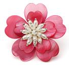 粉红色贝壳花 白珍珠胸针