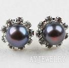 天然黑珍珠镶钻耳钉