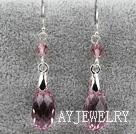 16mm淡紫色多面奥地利水晶耳环