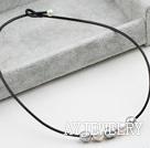 灰白珍珠皮绳项链