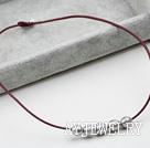 灰珍珠皮绳项链
