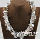 白色花瓣形再生珍珠项链