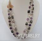 白水晶紫晶黑发晶天然玛瑙花项链