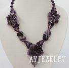 紫水晶雕刻花项链
