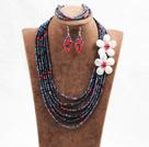黑色红色六层水晶贝壳花项链手链耳环套链
