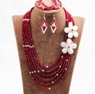 红色蛋白色六层水晶贝壳花项链手链耳环套链