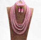 玫红色粉色10层水晶项链手链耳环套链