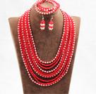 红色白色10层水晶项链手链耳环套链