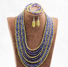 黄色蓝色10层水晶项链手链耳环套链