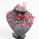 红色白色玉料水晶编织树枝项链手链耳环套链