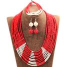 红色多层水晶项链 手链 耳环 套链