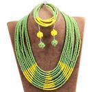 绿色 黄色多层水晶项链 手链 耳环 套链